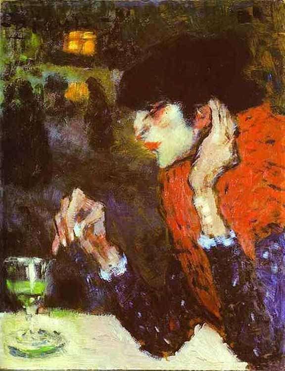 Picasso - obraz - Pijąca absynt - 1901